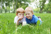Portrait of two boys in the summer outdoors — Stock Photo