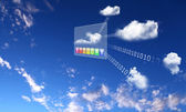 Elements of the social network against the sky — Stock Photo
