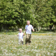 Little boys playing in the park — Stock Photo