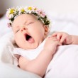 Portrait of a yawning baby girl — Stock Photo