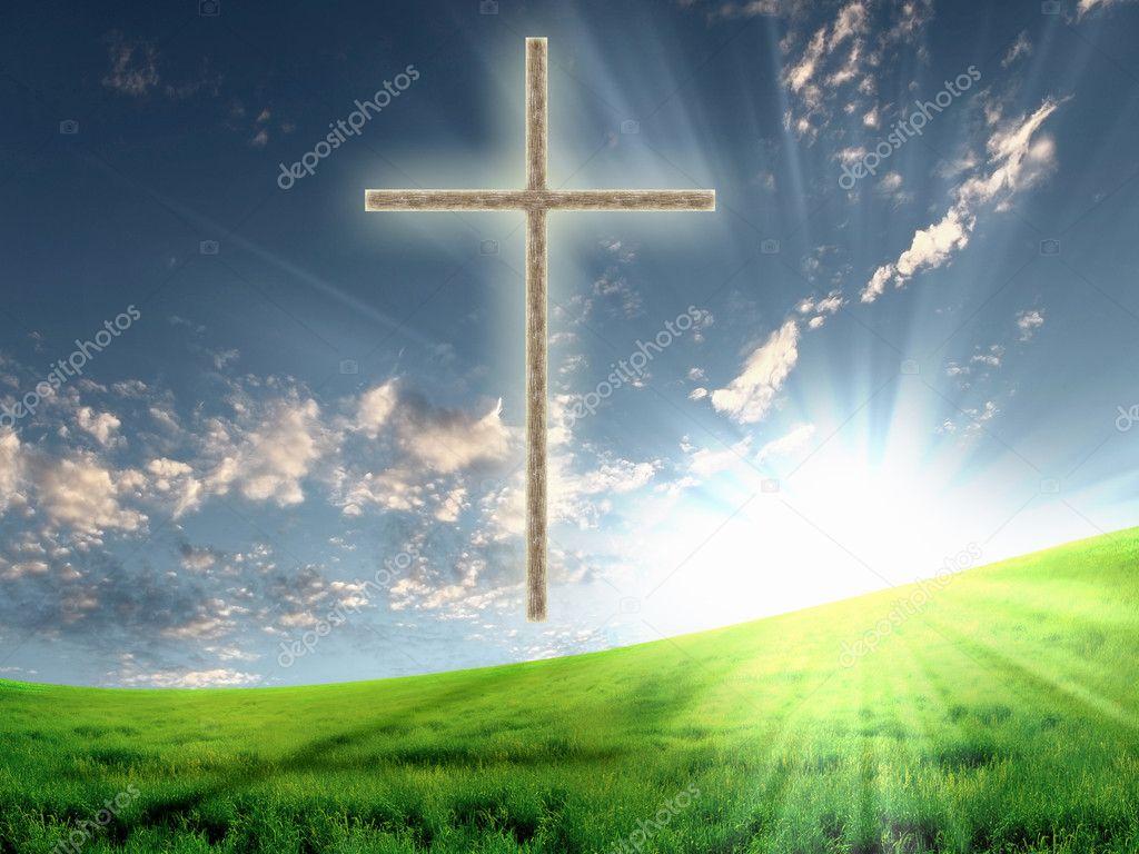 Happy Easter Religious Christian cross against the
