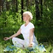 An elderly woman practices yoga — Stock Photo #6108939