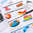 Stock Photo: Graphs, charts, business table.