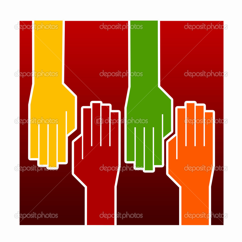 Hands holding each other. a symbol of friendship and cooperation. Illustration — Stock Photo #6130198