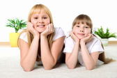 Mother with daughter in studio — Stock Photo