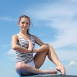 Portrait of a young woman doing exercises — Stock Photo #6160021