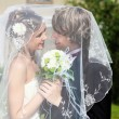 Young bride and groom young togethe — Stockfoto