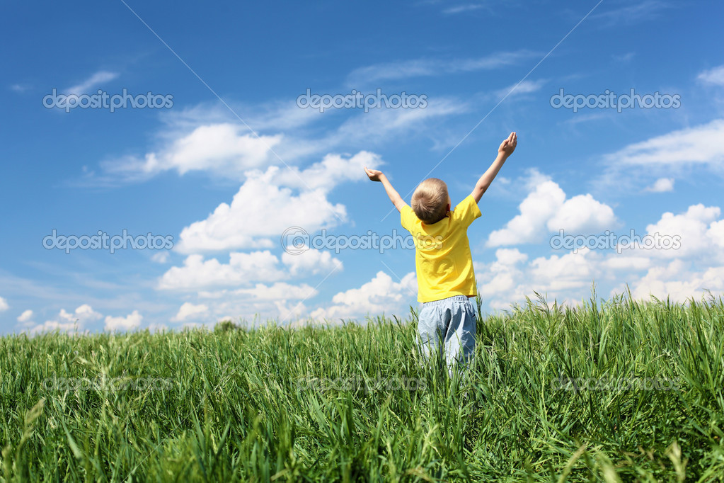 Little boy outdoors in sunny summer day — Stock Photo #6160002