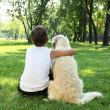 Tennager boy in the park with a dog - Stockfoto