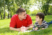 Father with his son in the park — Stock Photo
