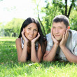 Couple spending time together in the summer park — Stock Photo #6247308
