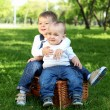 Two little brothers together in the park - Stock Photo