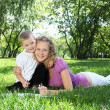 Mother with little son in the park - Foto Stock