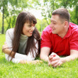 Young couple in park — Stock Photo #6309669