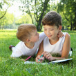 Royalty-Free Stock Photo: Children in the park reading a book