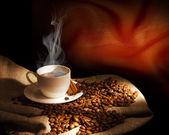 Parze filiżankę kawy — Zdjęcie stockowe