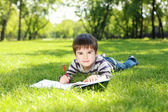 Portrait of a boy with a book in the park — Stok fotoğraf