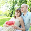 Foto Stock: Young couple on picnic in the park
