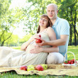 Young couple on picnic in the park — Stock Photo #6345539