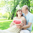 Young couple on picnic in the park - Stok fotoğraf