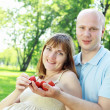 Young couple on picnic in the park - 图库照片