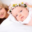 Portrait of a young mother and baby — Stock Photo