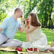 Young couple on picnic in the park — 图库照片