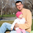 Litlle girl with father outdoors — Stock Photo #6492033