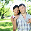 Couple spending time together in the summer park — Stock Photo #6549719