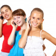 Pretty teenage girls with mobile phone — Stock Photo