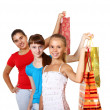Pretty teenage girls with shopping bags — Stock Photo #6552921