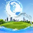 Green planet against blue sky and clean nature — Stock Photo #6553158