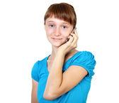 漂亮少女手中的移动电话 — 图库照片