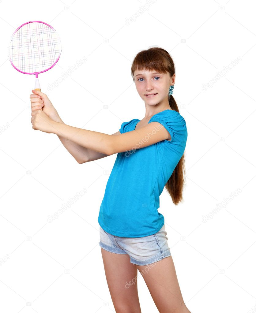 Pretty teenage girl with racket in studio on white background — Stock Photo #6553146