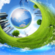 Green planet against blue sky and clean nature — Stock Photo #6582399