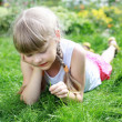 Girl gardening in the summer - Foto Stock