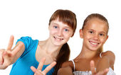 Two teenage girls together — Stock Photo