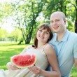Young couple on picnic in the park - Stock Photo