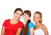 Drei teenager zusammen — Stockfoto