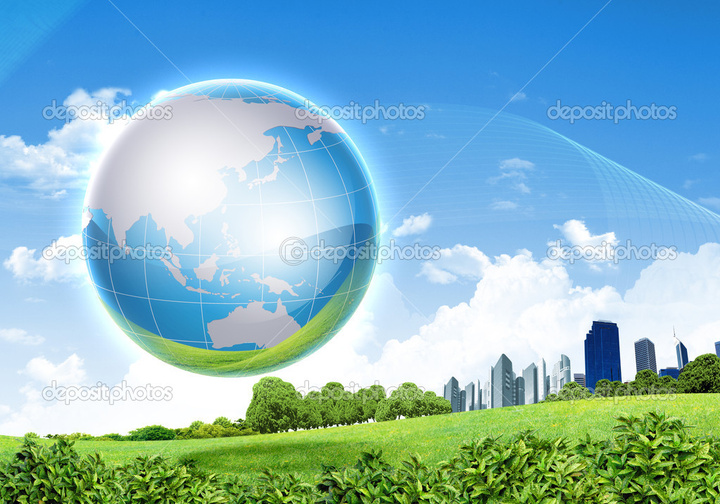 Picture of green planet as symbol of environmental concept — Stock Photo #6635144