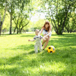 Little boy in the park playing with a ball — Stock Photo #6643860