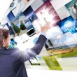Man working with vurtial screens — Stock Photo #6644106