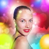 молодая блондинка женщина танцы — Стоковое фото