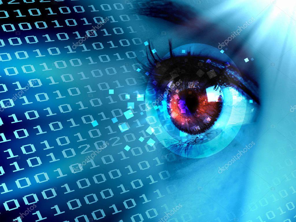 Flujo de datos digitales y ojo imagen de stock