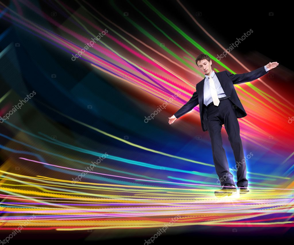 Illustration of a business man walking over Internet connection lines — Stock Photo #6692835