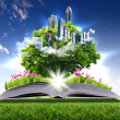 Open book with green nature world — Stock Photo #6707287