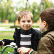 Boy on a bicycle in the green park — Stock Photo #6707511