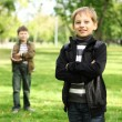 Boy with a friend in the green park — Stock Photo #6707683