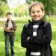 Boy with a friend in the green park — Stock Photo #6707696
