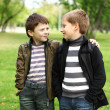 Boy with a friend in the green park — Stock Photo #6707730